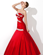 Trumpet/Mermaid Sweetheart Floor-Length Taffeta Prom Dress With Ruffle Beading Appliques Lace Sequins (018004955)