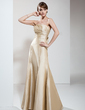 Trumpet/Mermaid Strapless Floor-Length Taffeta Bridesmaid Dress With Ruffle Bow(s) (007004270)