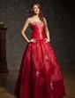 Corte de baile Escote corazón Hasta el suelo Organdí Vestido de quinceañera con Bordado Volantes Bordado (021004600)