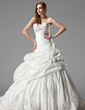 Ball-Gown Sweetheart Chapel Train Taffeta Wedding Dress With Ruffle Lace Flower(s) (002000461)
