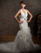 Trumpet/Mermaid Halter Chapel Train Organza Wedding Dress With Beading Flower(s) Cascading Ruffles (002012775)
