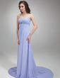 Empire Sweetheart Court Train Chiffon Evening Dress With Ruffle Beading (017018815)