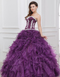 Ball-Gown Sweetheart Floor-Length Organza Quinceanera Dress With Appliques Lace Cascading Ruffles (021017431)
