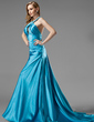 Forme Princesse Dos nu Traîne moyenne Charmeuse Robe de soirée avec Plissé Emperler (017002267)