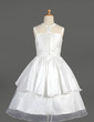 A-Line/Princess Tea-length Flower Girl Dress - Taffeta/Organza Sleeveless Scoop Neck With Lace/Flower(s) (010014644)