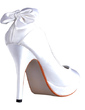 Women's Silk Like Satin Stiletto Heel Closed Toe Platform Pumps With Bowknot (047030354)