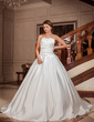 Ball-Gown Scalloped Neck Chapel Train Satin Wedding Dress With Ruffle (002012697)
