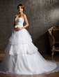 Ball-Gown Sweetheart Chapel Train Satin Organza Tulle Wedding Dress With Ruffle Lace Beading Sequins (002011543)