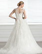 Ball-Gown Sweetheart Court Train Tulle Wedding Dress With Beading Appliques Lace Flower(s) (002005283)