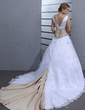 Ball-Gown V-neck Chapel Train Lace Wedding Dress With Sash Beading Appliques Lace (002000546)
