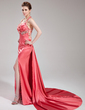 A-Line/Princess Halter Watteau Train Charmeuse Evening Dress With Ruffle Beading Split Front (017019578)