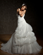 Ball-Gown Sweetheart Chapel Train Satin Organza Wedding Dress With Ruffle Beading Appliques Lace Sequins (002012604)