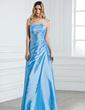 Kılıf Askısız Uzun Etekli Taffeta Nedime Elbisesi Ile Büzgü Boncuklama (007001076)