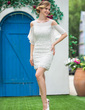 Sheath/Column Off-the-Shoulder Short/Mini Lace Wedding Dress With Cascading Ruffles (002050394)