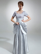 A-Line/Princess Square Neckline Floor-Length Charmeuse Mother of the Bride Dress With Ruffle (008006028)