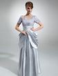 Çan/Prenses Kare Yaka Uzun Etekli Charmeuse Lace Gelin Annesi Elbisesi Ile Büzgü (008006028)