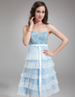 Empire Sweetheart Knee-Length Satin Organza Homecoming Dress With Embroidered Beading Sequins Bow(s) Pleated (022010402)