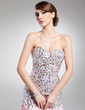 A-Line/Princess Sweetheart Sweep Train Chiffon Prom Dress With Beading Sequins Split Front (018014715)