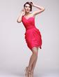 Sheath/Column One-Shoulder Short/Mini Chiffon Homecoming Dress With Ruffle (022016080)