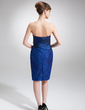 Sheath/Column Strapless Knee-Length Taffeta Lace Mother of the Bride Dress With Ruffle Beading Sequins (008006145)