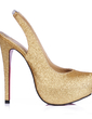 Women's Sparkling Glitter Stiletto Heel Closed Toe Platform Pumps Slingbacks (047015216)