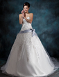 Ball-Gown Sweetheart Chapel Train Tulle Wedding Dress With Lace Sash Beading Bow(s) (002000341)