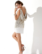 Kılıf Yuvarlak Yaka Kısa/Mini Chiffon Sequined Kokteyl Elbisesi (016008346)