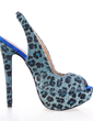 Suede Stiletto Heel Peep Toe Platform Slingbacks Sandals With Animal Print (087016990)