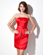 Empire Strapless Short/Mini Satin Bridesmaid Dress With Ruffle (008005632)