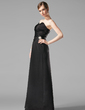 A-Line/Princess Scalloped Neck Floor-Length Satin Bridesmaid Dress With Ruffle Crystal Brooch (007013962)