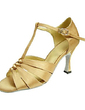 Women's Satin Heels Sandals Latin With T-Strap Dance Shoes (053013233)