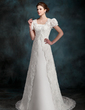 A-Line/Princess Strapless Court Train Satin Wedding Dress (002000218)