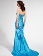 Trumpet/Mermaid Sweetheart Sweep Train Charmeuse Prom Dress With Ruffle Beading Sequins (018004829)
