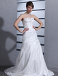 A-Line/Princess Strapless Court Train Taffeta Wedding Dress With Ruffle Beading Appliques Lace (002000484)