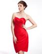 Sheath/Column Sweetheart Knee-Length Satin Bridesmaid Dress With Ruffle (007026282)