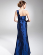 Trumpet/Mermaid One-Shoulder Floor-Length Taffeta Evening Dress With Ruffle Beading (017014681)