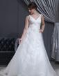 Princesový Véčkový výstřih Dvorní vlečka Tulle Svatební šaty S Volán Lace Zdobení korálky (002001341)