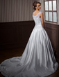 Ball-Gown Scoop Neck Cathedral Train Satin Organza Wedding Dress With Embroidered Beading (002011445)