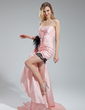 Sheath/Column Sweetheart Asymmetrical Taffeta Prom Dress With Lace Feather Cascading Ruffles (016019122)