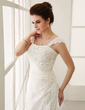 A-Line/Princess Chapel Train Taffeta Wedding Dress With Ruffle Lace Beading (002011974)