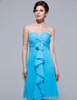 Empire Sweetheart Knee-Length Chiffon Bridesmaid Dress With Cascading Ruffles (007037225)