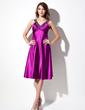 Empire V-neck Knee-Length Charmeuse Bridesmaid Dress With Ruffle Beading (022016088)