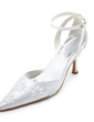 Women's Satin Stiletto Heel Closed Toe Pumps With Stitching Lace (047010762)
