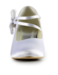 Women's Satin Spool Heel Closed Toe Pumps With Bowknot Rhinestone (047016578)