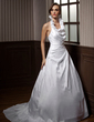 A-Line/Princess Halter Court Train Taffeta Wedding Dress With Beading Appliques Lace Sequins Cascading Ruffles (002012189)