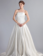 A-Line/Princess Strapless Chapel Train Satin Wedding Dress With Ruffle (002001188)
