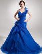 A-Line/Princess Sweetheart Court Train Organza Quinceanera Dress With Beading Flower(s) Cascading Ruffles (021016383)