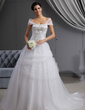 Ball-Gown Off-the-Shoulder Cathedral Train Tulle Wedding Dress With Embroidered Ruffle Beading (002022657)