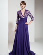 A-Line/Princess V-neck Sweep Train Chiffon Lace Mother of the Bride Dress With Ruffle Beading Split Front (008006141)