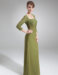 Sheath/Column Square Neckline Floor-Length Chiffon Mother of the Bride Dress With Beading Sequins (008006049)